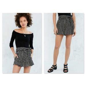 Silence + Noise Black White Stripes Wrap shorts